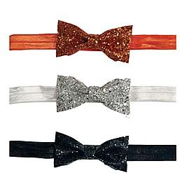 Tiny Treasures 3-Pack Glittering Bow Set in Orange/White/Black