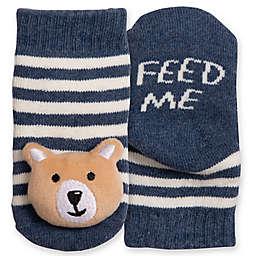 IQ Kids Size 0-12M Bear Rattle Socks in Blue