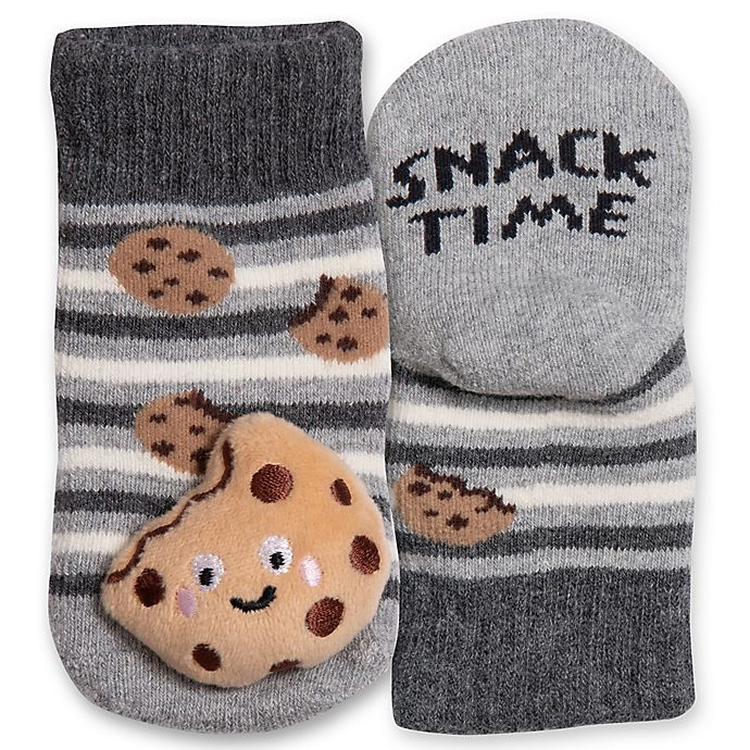 Alternate image 1 for IQ Kids Size 0-12M Cookie Rattle Socks in Grey