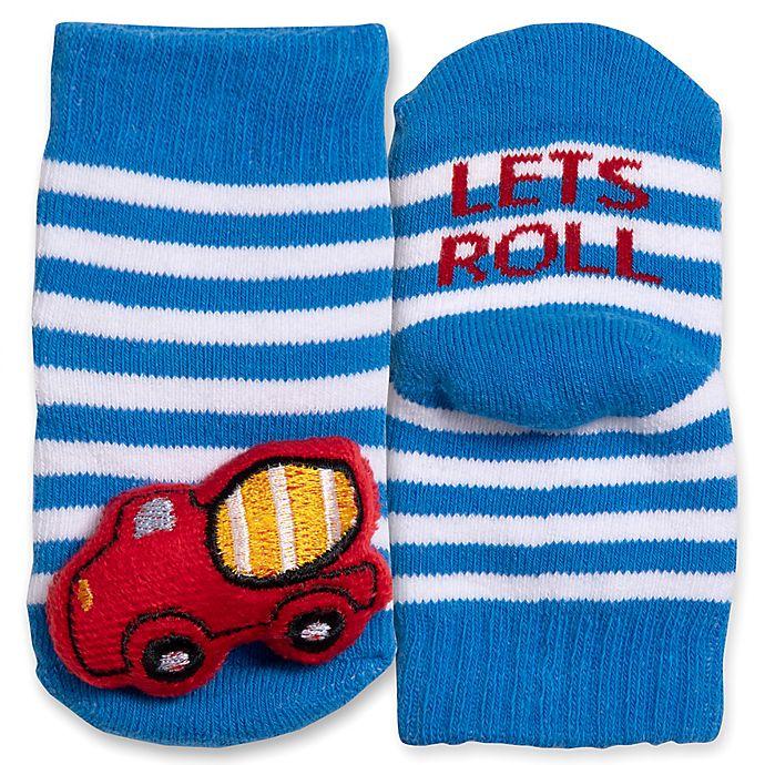 Alternate image 1 for IQ Kids Size 0-12M Construction Rattle Socks in Blue