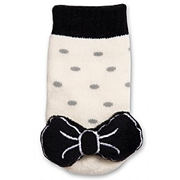 IQ Kids Size 0-12M Bow Rattle Sock in Black/White