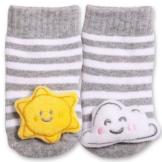 Alternate image 1 for IQ Kids Size 0-12M Sun Cloud Rattle Sock in Grey