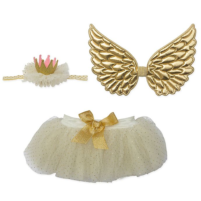 Alternate image 1 for Elly & Emmy Size 0-6M 3-Piece Gold Wing Fancy Tutu Set