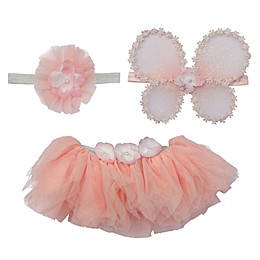 Elly & Emmy Size 0-6M 3-Piece Fairy Wing Fancy Tutu Set in Pink