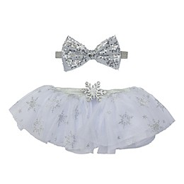 Elly & Emmy Size 0-6M 2-Piece Sequin Bow Fancy Tutu Set in Silver