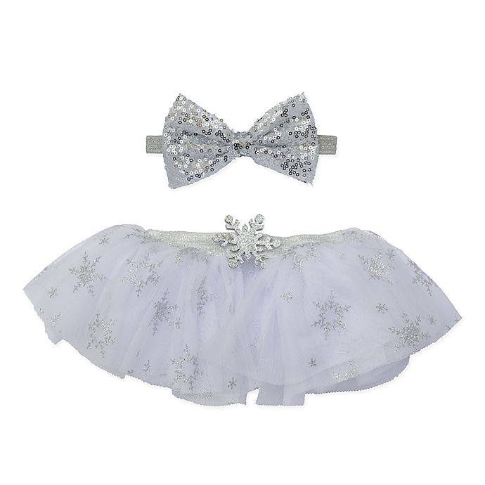 Alternate image 1 for Elly & Emmy Size 0-6M 2-Piece Sequin Bow Fancy Tutu Set in Silver
