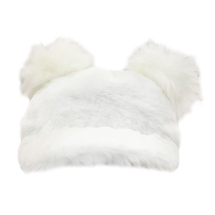 Alternate image 1 for Toby Fairy™ Faux Fur Double Pom Baseball Cap in Ivory