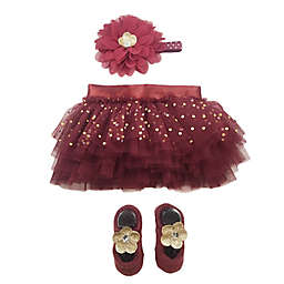 Toby Signature™ Size 0-6M 3-Piece Floral Tutu, Headband and Shoe Set in Garnet
