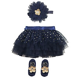 Toby Signature™ Size 0-6M 3-Piece Floral Tutu, Headband and Shoe Set in Navy