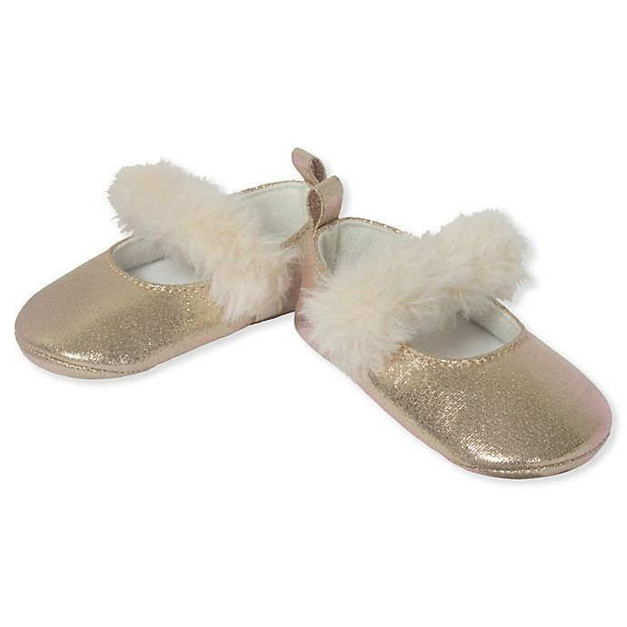Alternate image 1 for Little Me® Pearlized Faux Fur Mary Jane Shoe in Gold