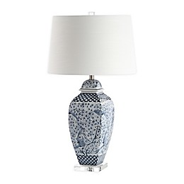 Safavieh Braeden Table Lamp in Blue/White with Fabric Lamp Shade