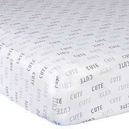 "Gerber® ""Cute"" Lamb Cotton Fitted Crib Sheet in Grey"