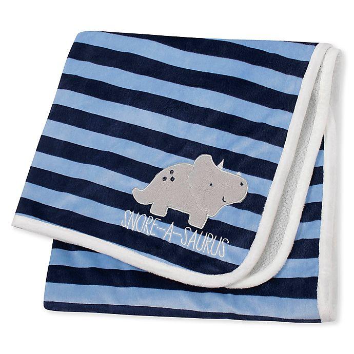 Alternate image 1 for Gerber® Striped Dinosaur Plush Blanket in Blue/Grey
