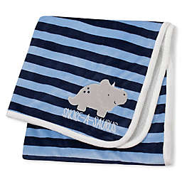 Gerber® Striped Dinosaur Plush Blanket in Blue/Grey