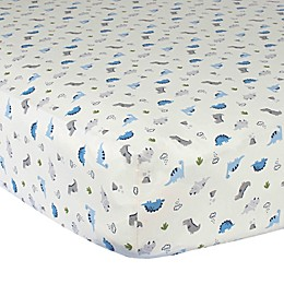 Gerber® Dinosaur Cotton Fitted Crib Sheet in Ivory/Blue