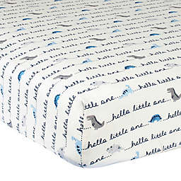 "Gerber® ""Hello Little One"" Dinosaur Cotton Fitted Crib Sheet in Ivory/Blue"