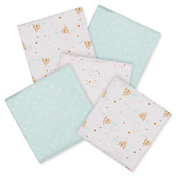 Gerber® Princess 5-Pack Flannel Receiving Blankets in Aqua