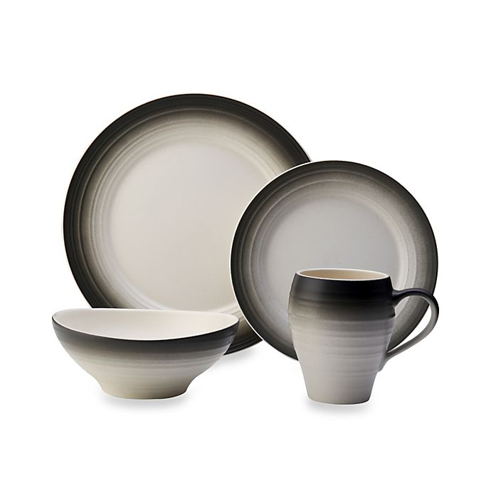 Alternate image 1 for Mikasa® Swirl Ombre 4-Piece Place Setting in Graphite