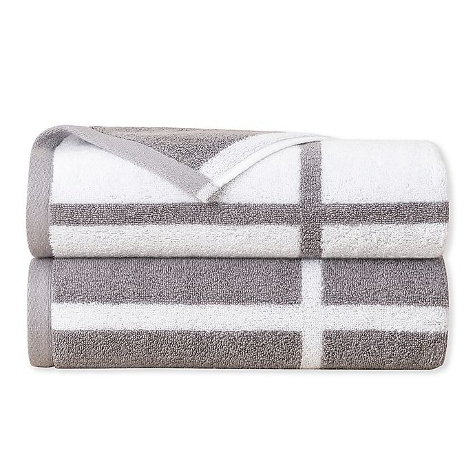 Alternate image 1 for Landon Bath Towels in Grey/White (Set of 2)