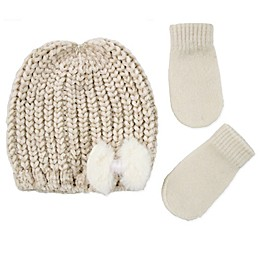 Addie & Tate 2-Piece Hat and Mitts Set in Gold