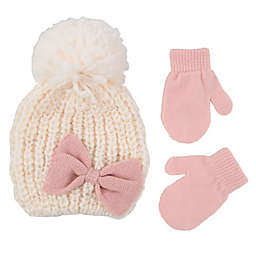 Addie & Tate 2-Piece Hat and Mitts Set in Ivory/Pink