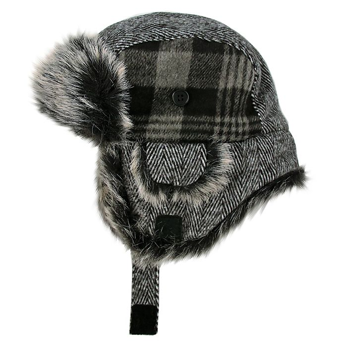 Alternate image 1 for Addie & Tate Plaid Trapper Hat in Grey