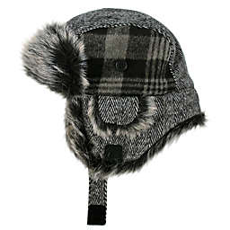Addie & Tate Plaid Trapper Hat in Grey