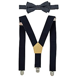 Addie & Tate 2-Piece Chambray Bowtie and Suspender Set in Blue