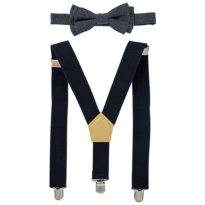 Alternate image 1 for Addie & Tate 2-Piece Chambray Bowtie and Suspender Set in Blue