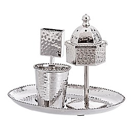 Stainless Steel 4-Piece Havdalah Set With Tray