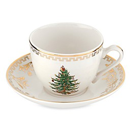 Spode® Christmas Tree Gold Teacups and Saucers (Set of 4)