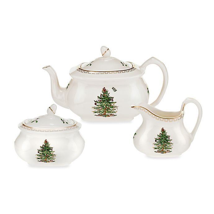 Spode Christmas Tree China Sale: Spode® Christmas Tree Gold 3-Piece Tea Set