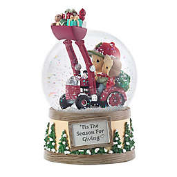 Precious Moments® Dad and Son on Tractor with Tree Musical Snow Globe