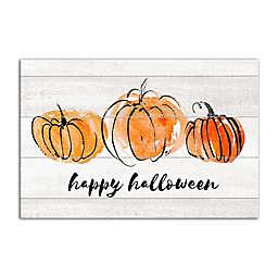 """Happy Halloween"" 12-Inch x 18-Inch Watercolor Pumpkins Canvas Wall Art"