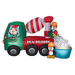 Animated Inflatable Cement Mixer Christmas Yard Decor