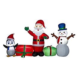 Santa Scene with Snowman and Penguin 5-Foot Inflatable
