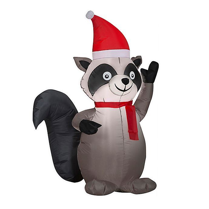 Alternate image 1 for Holiday Raccoon 4-Foot Inflatable
