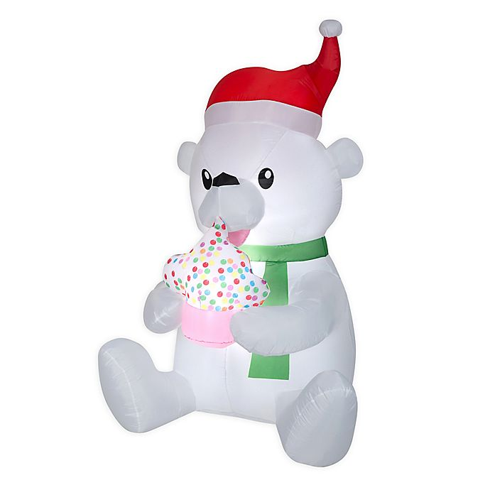 Alternate image 1 for Animated Polar Bear with Cupcake 6-Foot Inflatable