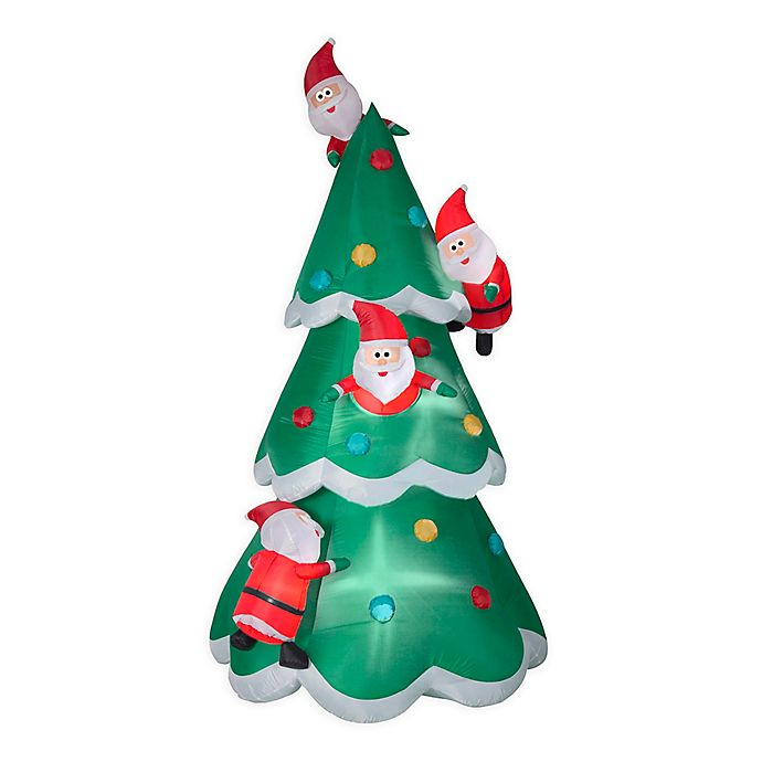 Alternate image 1 for Christmas Tree of Many Santas 9-Foot Inflatable