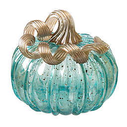 Glitzhome Decorative Glass Pumpkin in Blue