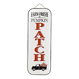 Glitzhome Enameled Metal Pumpkin Patch Porch Sign in White