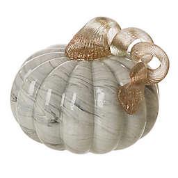 Glitzhome Marble Glass Decorative Pumpkin in Grey
