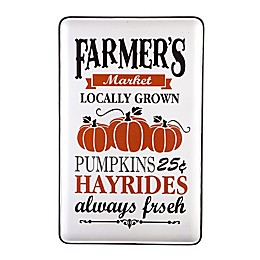 Glitzhome Enameled Metal Pumpkins Wall Sign in White