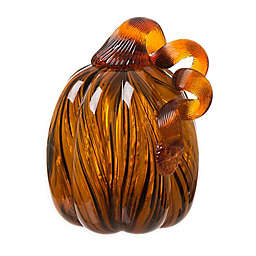4-Inch Striped Glass Pumpkin in Brown
