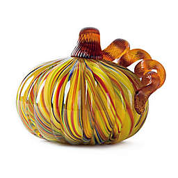 5-Inch Short Striped Glass Pumpkin