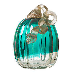 5-Inch Crackle Glass Pumpkin in Turquoise