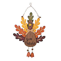 "Glitzhome 20-Inch ""Give Thanks"" Wooden Turkey Wall Décor"