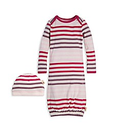 Burt's Bees Baby® Size 0-6M Multi-Stripe Organic Cotton Gown and Cap Set in Dahlia
