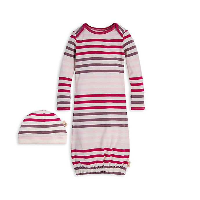 Alternate image 1 for Burt's Bees Baby® Size 0-6M Multi-Stripe Organic Cotton Gown and Cap Set in Dahlia