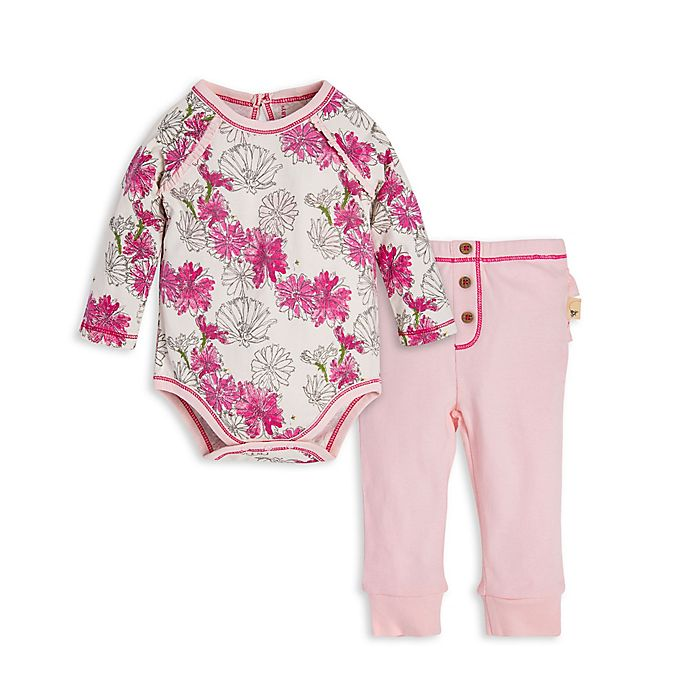 Alternate image 1 for Burt's Bees Baby® 2-Piece Wildflower Organic Cotton Bodysuit and Pant Set